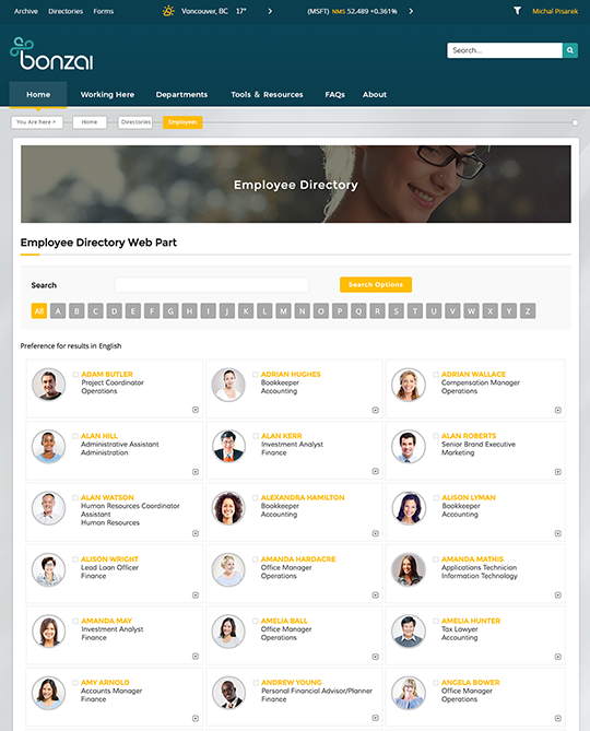 Find the best sharepoint intranet templates collab365 directory bonzai intranet sharepoint intranet templates pronofoot35fo Choice Image