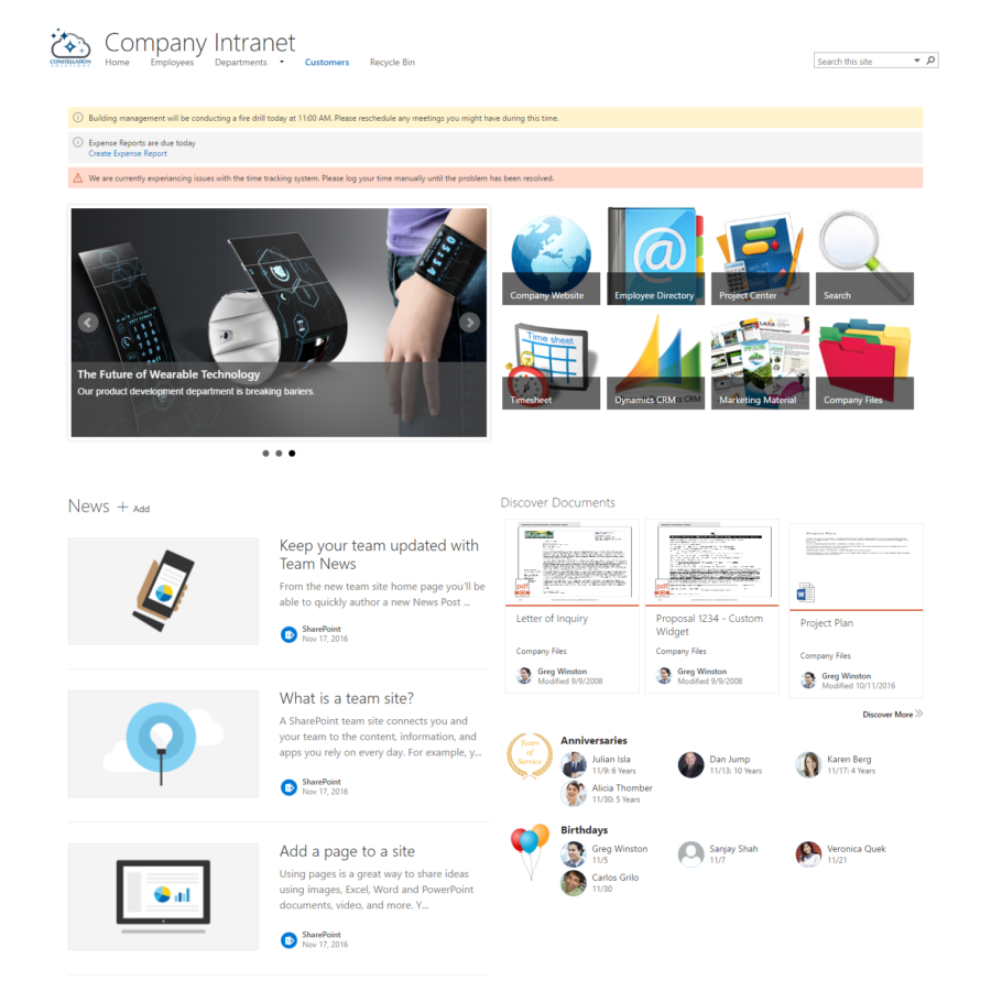 Sharepoint site design ideas - Sharepoint Intranet Starter Kit