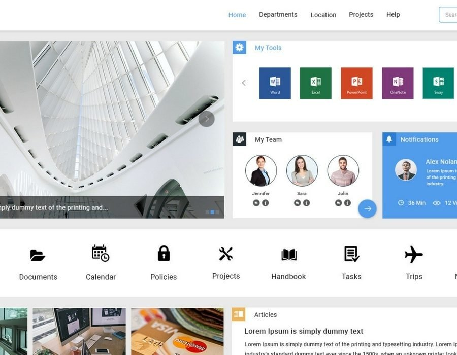Find the best sharepoint intranet templates collab365 for Intranet portal design templates